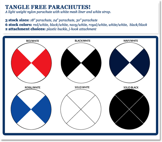 "TANGLE FREE PARACHUTES! Include a light weight nylon parachute with white mesh liner and white strap. 3 stock sizes: 18"" parachute, 24"" parachute, 30"" parachute 6 stock colors: red/white, black/white, navy/white, royal/white, white/white,  black/black 2 attachment choices: plastic buckle, j-hook attachment"